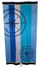 bleu SERVIETTE DE PLAGE NAUTIQUE COMPAS rayures jumbo grand drap bain 100% coton