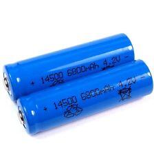 2 de iones de litio Batería 4,2 V 6800 mah tipo 14500 Li ion tamaño 50 x 14 mm de tamaño AA