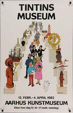 TINTIN's MUSEUM Danish poster HERGE 1983 Vintage Original 25.5x39