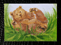 "Original art by Bastet ""Funny Bear"" OOAK hand painted ACEO"