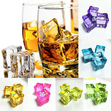 Fake Artificial Acrylic Ice Cubes Crystal  Square Bar Club Supplier Decor 7Color