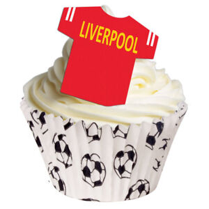 12 PRE-CUT stand-up EDIBLE LIVERPOOL T-SHIRT football cake decorations toppers