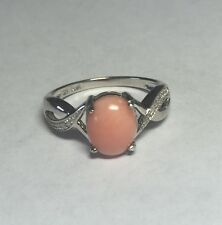 Brand New Sterling Silver Genuine 9mm x 7mm Oval Pink Coral & Diamond Ring