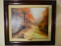 Thomas Kinkade Autumn Lane 20x24 S/N GP, Framed Limited Edition Canvas