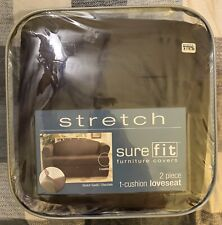 Sure Fit Stretch Suede 2-Piece T-cushion Loveseat Slipcover