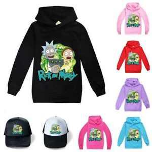 Kids Boys Girls Rick and morty Hoodie Sweatshirt Long Sleeve Jumper Pullover UK