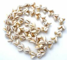 """Coffee Bean Trivia Shell and Conch Necklace 36"""" Vintage Beach Seashell Jewelry"""