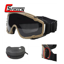 Paintball Airsoft Tactical Hunting Anti-fog Glasses Goggle with Fan Dark Earth