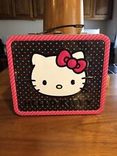 Hello Kitty Collectible Black Pink Polka Dot Metal Lunch Pail Preowned