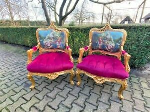 Old pair of French Louis XVI Style Chairs in Gobelin and Velvet Fuchsia