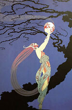 Erte 1982 - Girl Frees FIREFLIES FIRE FLIES into NIGHT -  Art Deco Print Matted