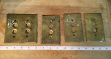 4 Antique Brass Push Button Wall Light Switch Plate Covers 3 Singles 1 Double