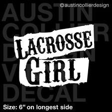 "6"" LACROSSE GIRL vinyl decal car window laptop sticker - team gift"