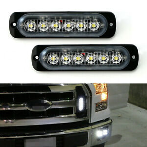 2xFlush Mount 6-LED Daytime Running Driving Lighting Kit For Grille Bumper Mount