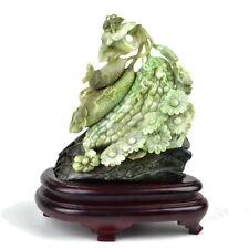 Natural Dushan Jade Plant Statue Sculpture Butterfly Flower & Cucumber