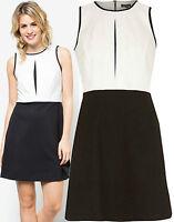 New River Island 10- 18 Black White Monochrome A Line Shift Formal Vintage Dress