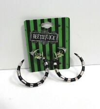 Beetlejuice Sandworm Metal Hoop Earrings - Black & Silver Tone