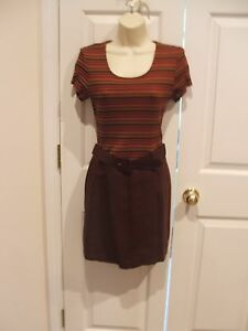 new/pkg frederick's of hollywood autumn brown SKORT DRESS made in USA  SIZE-9/10