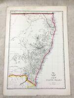 1858 Antik Map Of Australia Neu South Wales Hand- Farbig 19th C Original