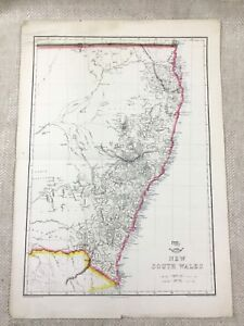 1858 Antique Map of Australia New South Wales Hand Coloured 19th C Original