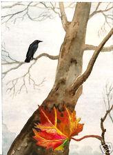 RAVEN CROW RYTA PRINT OF PAINTING HALLOWEEN TREE ART 5x7 INCH GOTHIC FOLK MAPLE