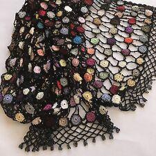 Vintage Colorful Black Shawl Crochet Wrap Scarf Iridescent Beads Fringe 15 x 74