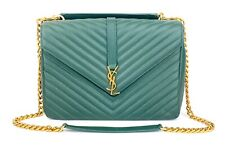 AUTHENTIC Yves Saint Laurent YSL Large College Bag Green GHW Great Condition