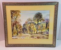 Signed Watercolor Painting Walnut Framed Frame Fall Foliage Trees Autumn Leaves