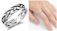 Sterling Silver 925 LADIES MENS BRAIDED DESIGN 6MM SILVER BAND RING SIZES 5-14