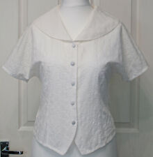 Cute Vintage 80's M&S 12 White Broderie Anglaise Blouse/Shirt Sailor Collar