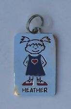 Heather NAME CHARM dog tag pendant zipper pull key chain flair