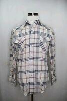 Vintage Chute #1 Western Pearl Snap Shirt White Mens Sz M 15.5 34 Plaid Cowboy