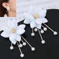 Ear Personality White Flower Stud Fashion Jewelry Pearl Dangle Earrings Women