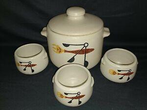 Vintage 1960's West Bend Bean Pot Set ~ Pot, Lid and 3 Bowls