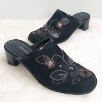 Brighton Womens Shoes Fiona Black Nubuck Leather Embroidered Mules Slides Size 9