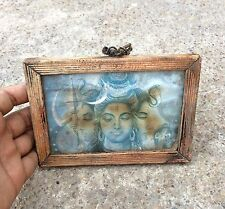 VERY OLD RARE BEAUTIFUL LORD SHIVA IN PEACEFUL GESTURELITHO PRINT FRAMED PICTURE