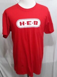H-E-B Helping Here Red T-Shirt Tee 100% Cotton Size Medium-Large-XLarge- 2XLarge