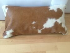 Cowhide Pillow Cover Cushion Cow Hide Hair on cover. White and Brown.
