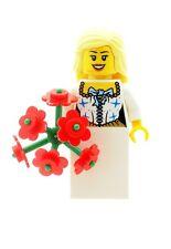 Lego mariage blonde mariée b FIGURINE AVEC GROS BOUQUET FLEURS FILLE NEUF