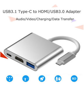 USB Type C 3.0 To HDMI/USB3.0 Spliter/HUB/Adapter for Audio/Video Laptop HDTV US