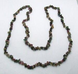 "30"" Gemstone Chip Necklace~Green Aventurine~Purple Amethyst~Pink Quartz~Peridot"