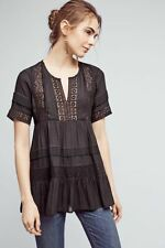 Brand NWT Anthropologie Tiered Lace Tunic By Maeve BLACK Shirt Size SMALL