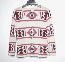 Augden - S - Ivory/Pink Geometric Navaho Pattern 100% Alpaca Cardigan Sweater