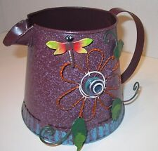 Dragonfly PURPLE Wire Flower Decorative Tin Metal Pitcher Cup LN