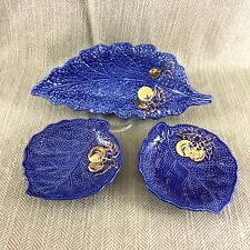 Rare Crown Devon Blue Lettuce Leaf Bowl Dish Cabbage Cobalt Gold 3 Picecs