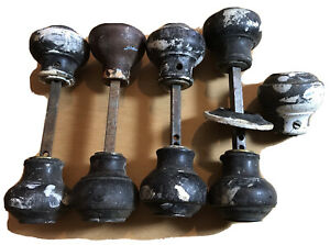 Vintage 4.5 Pairs 1930's Round Ball Shaped Wooden Rim Spindle Door Handles Knobs