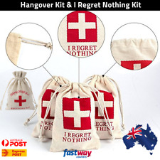 I Regret Nothing Hangover Kit Bags Cotton Muslin Hens Bridal Party Favours AUS