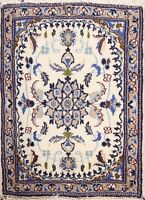 IVORY Floral Traditional Nain Hand-knotted Area Rug Wool Oriental 2'x3' Carpet