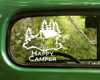 2 HAPPY CAMPER DECALs Sticker Camping Nature For Car Window Bumper Laptop RV