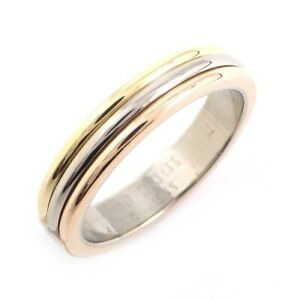 Auth Cartier Ring Trinity Wedding 750(18K) Tri-Color Gold #49 US4.75